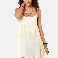 RVCA Black Metal Ivory Fringe Dress