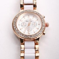 White &amp; Gold Link Watch with Rhinestone Detail