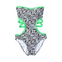 Target : Junior&#x27;s Geometric Print Monokini -Black/White/Kiwi : Image Zoom