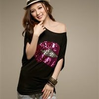 Wholesale  Lips Sequins Bat Short Sleeve Polyester Cotton Women T Shirt - DinoDirect.com