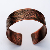 Etched Copper Cuff, Men's and Women's Wide Band Cuff Bracelet, Geometric, Triangles & BOLD Lines