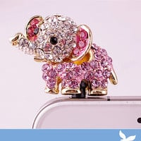 Bling Crystal Phone Case Beauty Accessary - 1PC Crystal Animal Elephant Earphone Cap Anti Dust Plug for iPhone 5 & 4