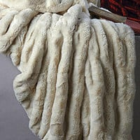 Ivory Mink Faux Fur Couture Throw Blankets | Fabulous Furs