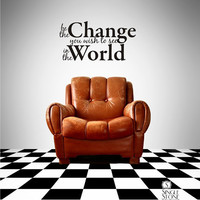 Wall Decal Quote Be The Change Vinyl by singlestonestudios