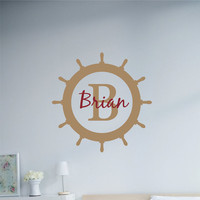Wall Decal Personalized Monogram Ships wheel 22 inch Round Vinyl Wall Art Stickers boys monogram