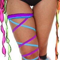 Contagious Clubwear Turquoise Purple Leg Garter Wrap Ties Sexy Go Go Dancer Ravewear Rave Stripper Festival Neon UV Ties Wholesale Supplier
