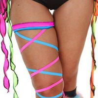 Contagious Clubwear Hot Pink & Blue Leg Garter Wrap Ties Sexy Go Go Dancer Ravewear Rave Stripper Festival Neon UV Ties Wholesale Supplier