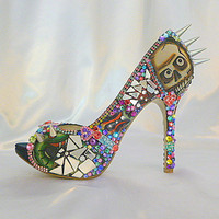 Too Too Tattoo ..spiky high heel party shoes with spikes and broken glass