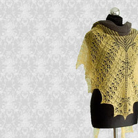Yellow and grey hand knitted shawl, modern womens wrap with lacy boarder
