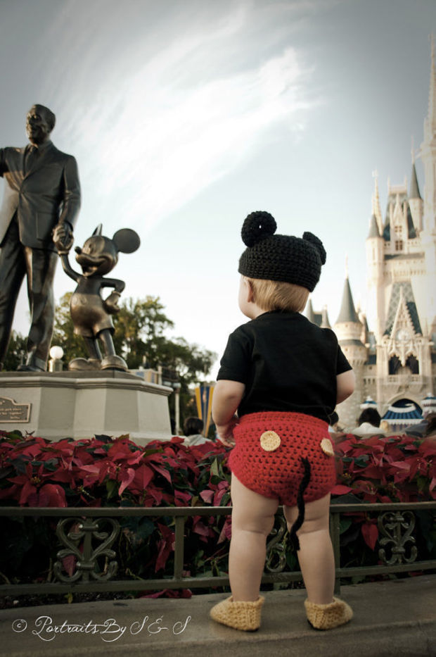 Mickey Mouse Hat and Diaper cover