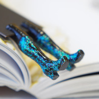 Bright minty blue bookmark . Shining glam. Boots in the book.  Bright for her, all, oht teacher