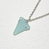 Seafoam Green Shark Tooth Wire Wrapped Sea Glass Necklace