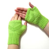 Knit Fingerless Gloves, Adult fingerless gloves, Wrist warmer, Winter gloves, winter gifts, Green