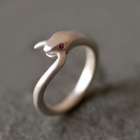 Snake Tail Ring in Sterling Silver with Rubies