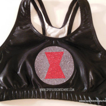 Black Widow Super Hero Metallic Sports Bra by SparkleBowsCheer
