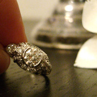 Art Deco Platinum and Diamond Engagement Ring by by RiordanStudio