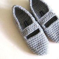 Crochet Mary Jane Slippers For Women In Grey | Luulla