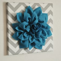 Wall Flower -Turquoise Dahlia on Gray and White Chevron 12 x12&quot; Canvas Wall Art- 3D Felt Flower