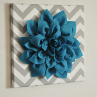 "Wall Flower -Turquoise Dahlia on Gray and White Chevron 12 x12"" Canvas Wall Art- 3D Felt Flower"