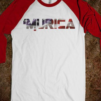 'Murica Baseball Tee-Unisex White/Red T-Shirt