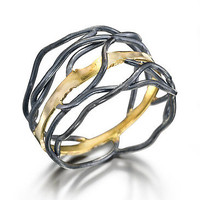 Rooted ring by Beverly Tadeu: Gold and Silver Ring - Artful Home