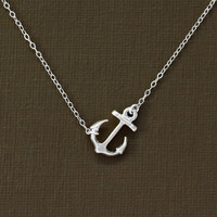 Sideways Silver Anchor Necklace - Sterling Silver Chain