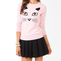 Feline Face Graphic Sweater