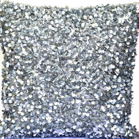 Sequin Throw Pillow, Silver Throw Pillow, Glitter Throw Pillow, Shimmer Pillow, Sparkly, Embellished. Sequins, Beads - 'Twinkling Stars'