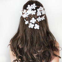 Back Cascade Flower Crown, Whimsical Headband, fairy wedding bridal,  white - BEATRICE -