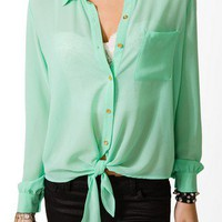 Sheer Tie Front Shirt | FOREVER 21 - 2019497318
