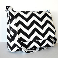 Handmade Black Chevron Purse / Womens Zig Zag Messenger Bag - Black and White