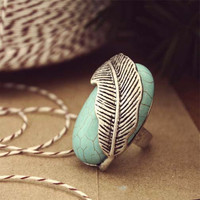 Feathered Turquoise Ring, Sweet Country Inspired Jewelry
