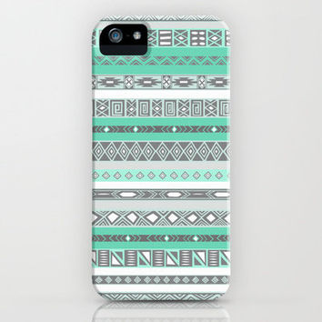 Cool Mint Tiffany Aztec Pattern iPhone Case by RexLambo | Society6