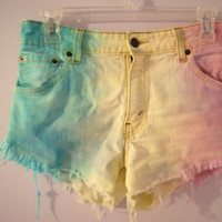 Pastel Dyed High Waisted Levi's Denim Shorts