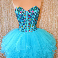 TURQUOISE SHORT PROM HOMECOMING COCKTAIL EVENING WEDDING PAGEANT GOWN DRESS L 12
