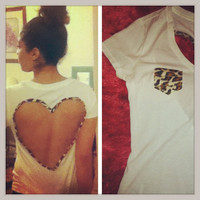 Leopard print heart back Tee