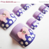 ON SALE Minnie Mouse Purple Polka Dot Fake Nails for Toes with 3D Bows
