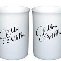 Mr & Mrs Bone China Mugs - FREE POSTAGE IN THE UK