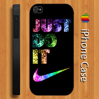 Nike Just Do It - Just Do It Sparkle iPhone 5 Case, iPhone 4/4s Case, Black/White Hard Case