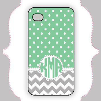iPhone  Case- Mint Polka Dot Chevron Monogram-iPhone 4 Case, iPhone 4s Case, iPhone 5 Case, Monogram Case, Personalized iPhone Case