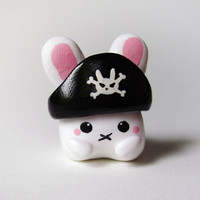 Polymer Clay Cute White Pirate Bunny Charm