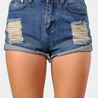 Lucas High Waist Shorts - Dark Blue