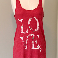Love Eco Racerback Tank Top in Red by ShopRIC on Etsy