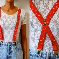 Vtg Hearts Printed Red White Gold Retro Suspenders