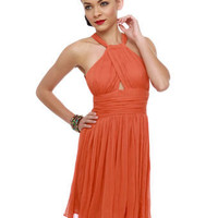 BB Dakota Garland Dress - Orange Dress - Halter Dress - $90.00