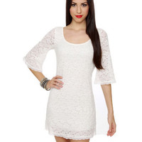 Lovely Ivory Dress - Lace Dress - Sheath Dress - $46.50