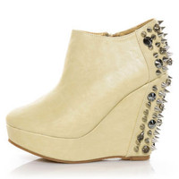 Privileged Heartbreaker Nude Spiked & Stoned Wedge Booties - $83.00