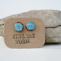 Earrings blue sparkle stud wood earrings by starlightwoods on Etsy