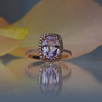 2.5ct Cushion peach champagne sapphire in 14k rose gold diamond ring