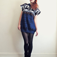 Navy wool sweater dress .  altered clothing . Rêve